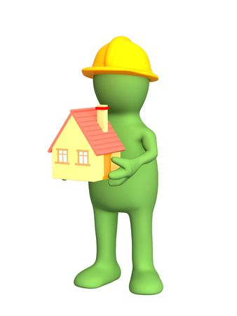 building inspector: 3d builder - puppet, holding in hands model at home. Objects over white