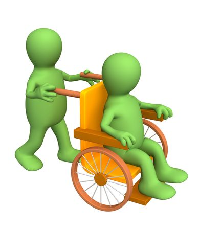 physical impairment: 3d puppet, carrying the patient in an armchair. Objects over white Stock Photo