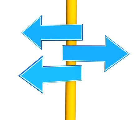 diversely: Three indexes - arrows, specifying different directions. Objects over white