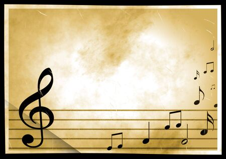 Vintage background with the image of musical symbols Stock Photo - 2706841