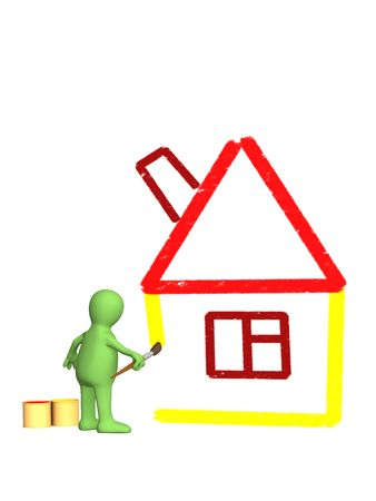 homely: 3d person - puppet, drawing by a brush sketch of a house. Objects over white