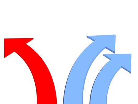 hither: Three 3d arrows - two dark blue and one red. Objects over white Stock Photo