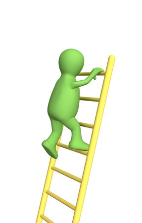clambering: 3d person - puppet, rising upwards on a ladder. Objects over white Stock Photo