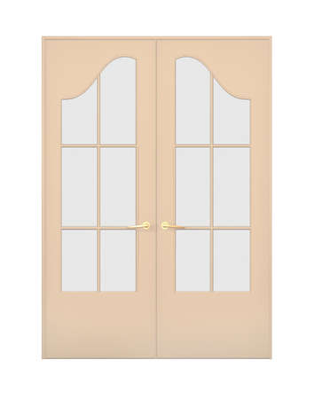 The closed double door with figured glasses. Objects over white photo