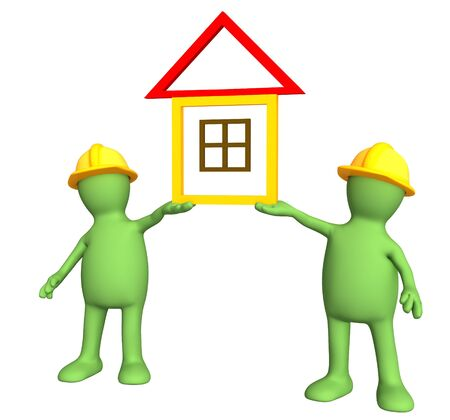 specify: Two builders - puppets, holding in hands the stylized house. Objects over white