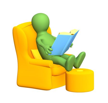 literary man: 3d person - puppet, reading the book in a soft armchair. Objects over white
