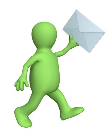 addressee: 3d person - puppet, running with the letter in a hand. Objects over white