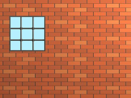 Brick wall with a window, closed by a lattice photo