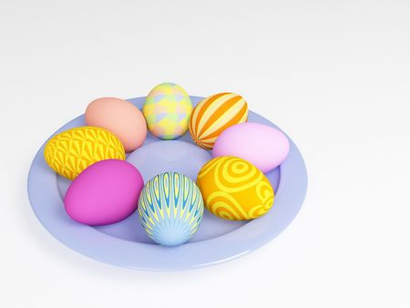 3d easter eggs in a plate, painted in different colors photo