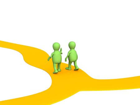 diversely: Two 3d the person, met on a crossroads Stock Photo