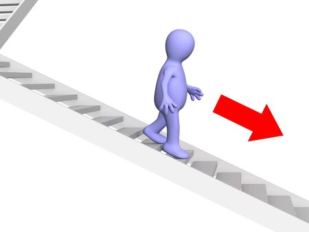 diminishing point: 3d person - puppet, going down downwards on a ladder. Objects over white