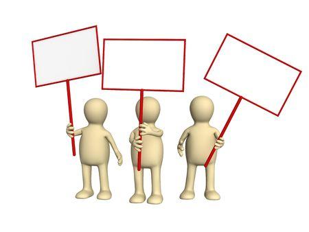 conflictos sociales: 3d personas - t�teres protestando con carteles en manifestaci�n. Los objetos m�s blanco