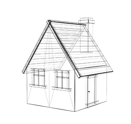 The 3d drawing of a rural house Stock Photo - 2733174