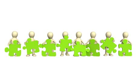 conformity: Eight puppets, holding in hands a puzzle of green color. Objects over white