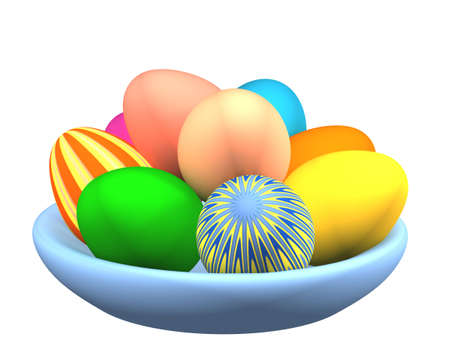 3d easter eggs in a plate, painted in different colors. Objects over white photo