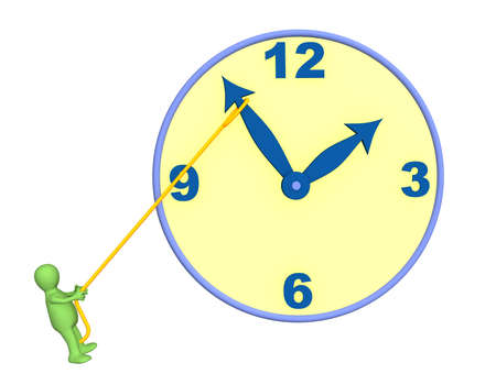 detain: 3d person - puppet, trying to stop time. Objects over white Stock Photo