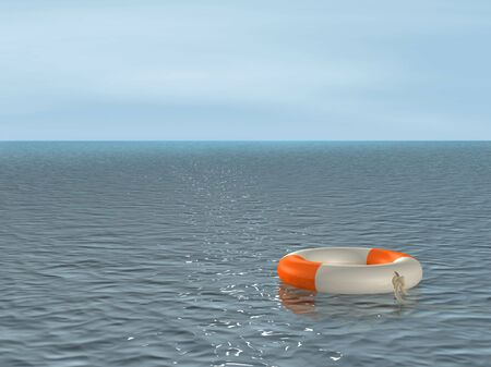 remote view: The 3d lifebuoy ring, floating on waves