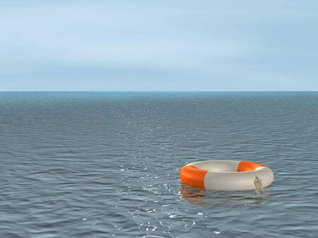 lifebuoy: The 3d lifebuoy ring, floating on waves