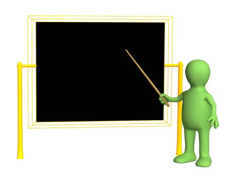 3d teacher - puppet, worth at a board with pick. Objects over white Stock Photo - 2733214