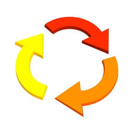 powerpoint: Tres 3d flechas, mostrando el movimiento de reciclaje. Objetos de m�s de blanco Foto de archivo