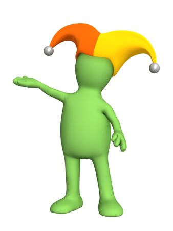dunce cap: 3d person - puppet, in a hat of the clown with bells. Objects over white