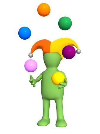 3d clown - puppet, juggling with color balls. Objects over white photo