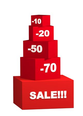 Sale - boxes with the goods for reduced prices. Objects over white Stock Photo - 2745672