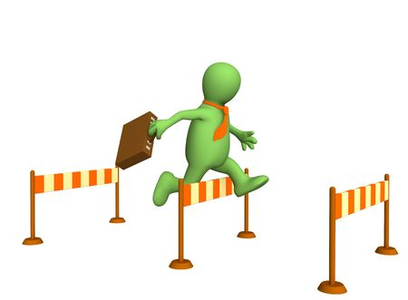course of action: 3d businessman - puppet, jumping through a barrier. Objects over white Stock Photo
