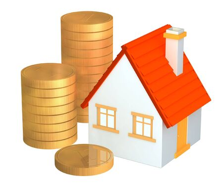 dividend: Conceptual 3d house and columns of gold coins. Objects over white