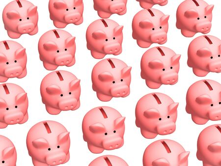 plaything: Background - lot of 3d pigs of the coin boxes . Objects over white Stock Photo