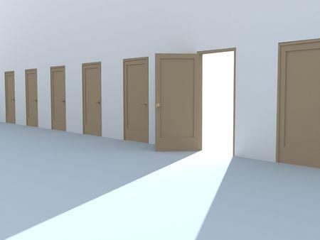 Open door in a row of the closed doors