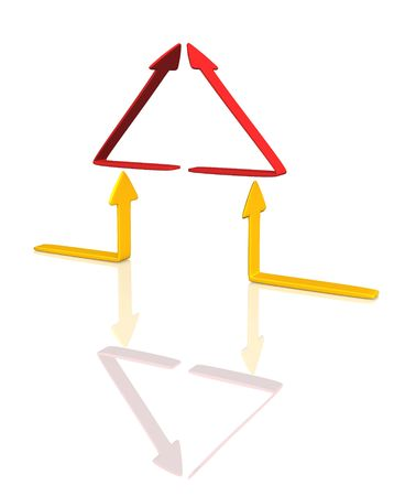 channelize: 3d conceptual house from red and yellow arrows. Objects over white