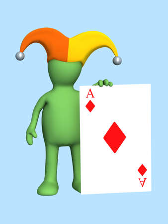 prank: 3d joker - puppet, holding in a hand of a red ace . Objects over blue Stock Photo