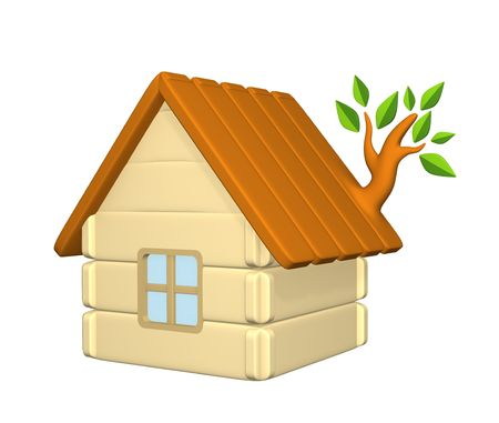 harmless: 3d harmless house with an evolved branch on a roof . Objects over white