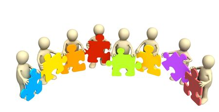 Eight puppets, holding in hands a puzzle of different color. Objects over white Stock Photo - 2784495