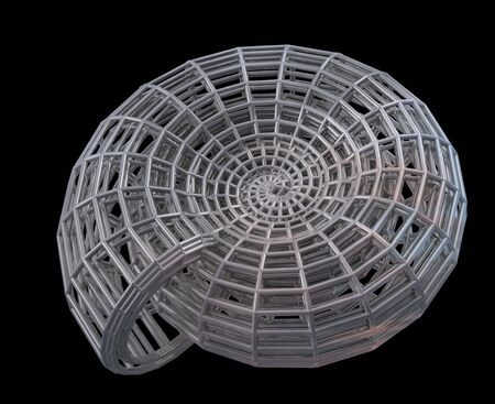 Abstract 3d spiral shell from a steel grid. Objects over black Stock Photo - 2784506