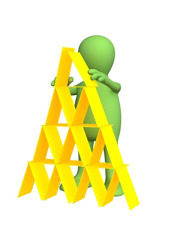 diligence: 3d person - puppet, making a pyramid from plastic cards. Objects over white