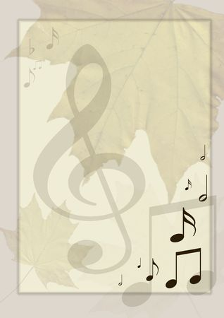 Background in retro - style, with musical symbols and maple leaves photo