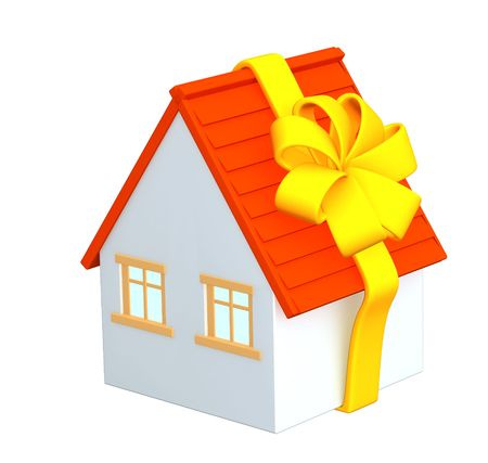 dividend: 3d house - gift, wrapping a tape. Objects over white