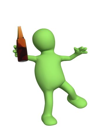 abuse: Drunk 3d doll - puppet with a bottle. Objects over white