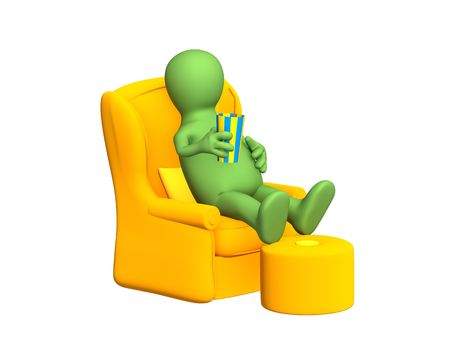 padded stool: The 3d person - puppet, having a rest in a soft armchair. Objects over white
