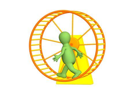 senseless: The 3d person - puppet, running inside a wheel
