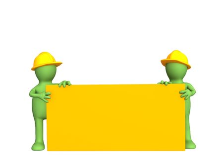 Two 3d builders - puppets, the holding empty form. Objects over white photo