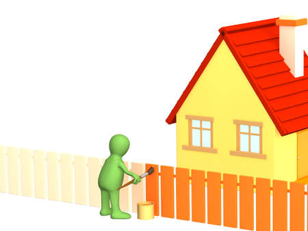 homely: The 3d person - puppet, painting fence in orange color. Objects over white Stock Photo