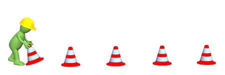 road closed: 3d puppet - working, installing emergency cones. Objects over white