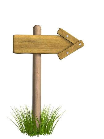 adhere: 3d retro wooden arrow - index on a column. Objects over white Stock Photo