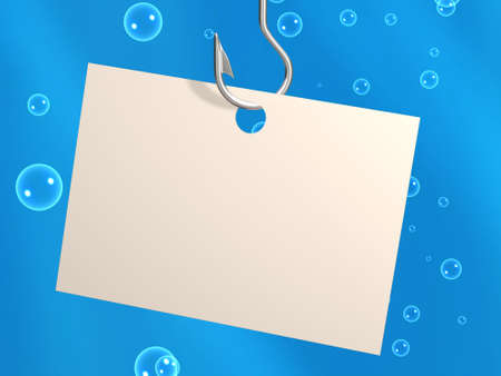 Empty sheet of a paper, hanging on a fishing hook. Objects over blue photo