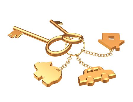 accumulation: Two 3d gold keys with three labels. Objects over white Stock Photo