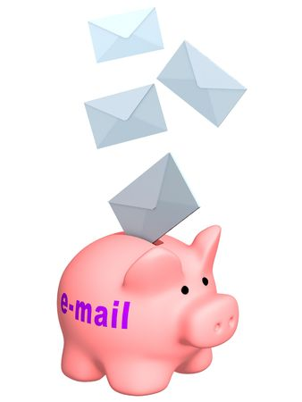3d letters, falling in a piggy bank - e-mail. Objects over white photo