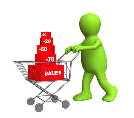 bought: 3d person - puppet, bought the goods at a discount. Objects over white Stock Photo